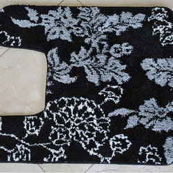 EverRouge - Memory Foam Floral Contour Bath Mat - This floral contour rug has a layer of memory foam to provide luxurious comfort. Designed to fit around the base of a toilet, the rug has a delightful floral pattern. It has a skid-resistant backing and the fibers are made of durable polyester.