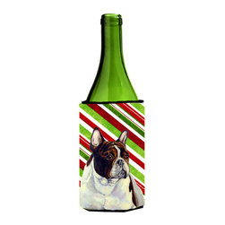 Caroline's Treasures - French Bulldog Candy Cane Holiday Christmas Wine Bottle Koozie Hugger - French Bulldog Candy Cane Holiday Christmas Wine Bottle Koozie Hugger Fits 750 ml. wine or other beverage bottles. Fits 24 oz. cans or pint bottles. Great collapsible koozie for large cans of beer, Energy Drinks or large Iced Tea beverages. Great to keep track of your beverage and add a bit of flair to a gathering. Wash the hugger in your washing machine. Design will not come off.