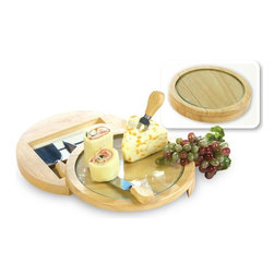 """Picnic Plus - Davos Cheese Board, Wood/Glass - Picnic Plus Wood & Glass Davos Cheese Board With Serving Tools, Wood/Glass. Color/Design: Wood/Glass; Includes a stylish, round, tempered glass cutting board; With a rubberwood swivel base; Four stainless steel serving tools store securely inside the base with a magnetic strip; Designed with a removeable tempered glass cutting board for easy cleaning and food safety. Dimensions: 8 1/2""""D x 2""""H"""
