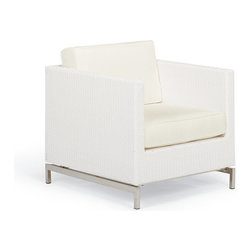 Frontgate - Metropolitan Outdoor Lounge Chair with Cushions in White Finish - Contemporary design. Handwoven high-quality fibers. Polished 304 stainless steel legs. Hidden powdercoated aluminum frames. Included high-density foam cushions. The cool, contemporary look of our Metropolitan White Lounge Chair is an enduring choice for relaxing outdoors. Strong, yet lightweight aluminum frames underscore the seating's clean lines and ideal proportions. White, weather-resistant high-quality fibers are woven by hand, with highly polished 304 stainless steel legs providing a sleek contrast. Included cushions are covered in premium outdoor fabrics. Part of the Metropolitan White Collection.  .  .  .  .  . Premium all-weather upholstery . Brisa Polar fabric is marine-grade, synthetic leather . Cushions also available with 100% waterproof Sunbrella Rain performance fabric.