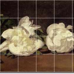 Picture-Tiles, LLC - Branch Of White Peonies With Pruning Shears Tile Mural By Edouard Mane - * MURAL SIZE: 32x48 inch tile mural using (24) 8x8 ceramic tiles-satin finish.