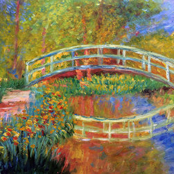 "overstockArt.com - Monet - The Japanese Bridge (The Bridge In Monet'S Garden - Yellow) - 20"" X 24"" Oil Painting On Canvas Hand painted oil reproduction of a famous Monet painting, The Japanese Bridge (The Bridge in Monet's Garden - yellow) . The original masterpiece was created in 1896. Today it has been carefully recreated detail-by-detail, color-by-color to near perfection. While Monet successfully captured life's reality in many of his works, his aim was to analyze the ever-changing nature of color and light. Known as the classic Impressionist, one can not help but have deep admiration for his talent. This work of art has the same emotions and beauty as the original. Why not grace your home with this reproduced masterpiece? It is sure to bring many admirers!"