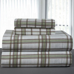 Pointehaven Plaid Flannel Sheet Set, Twin - Flannel sheets are perfect for crisp nights. This set has subtle silvery blue hues.