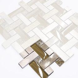 "Backsplash - Brown Metal Glass Marble Modern Mosaic Kitchen Backsplash Tile, 4""x4"" Sample - Modern brown tones kitchen backsplash tiles. Brown emperador dark marble mixed with brown metal aluminum pieces and crackle glass. Modern design kitchen backsplash tile."
