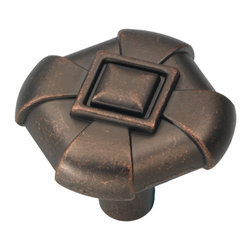 """Hickory Hardware - Chelsea Dark Antique Copper Cabinet Knob, 1 1/8"""" - Bridges contemporary and traditional design. Offering a deep rooted sense of history in some, with an updated feel and cleaner lines."""