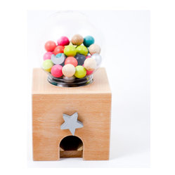 kiko+ - Gatcha Gatcha wooden bead dispenser - A wonderful wooden bead dispenser. Turn the star and see what comes next!