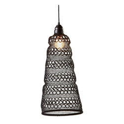 Lace Skirt Pendant - Black-finished wire surrounds 100W of brilliance that shines through the lace-like detailing of this gorgeous pendant. Bringing old-world traditions to your new-world home in a lighthearted, unpretentious spirit, this pendant will look great no matter where you decide to place it.