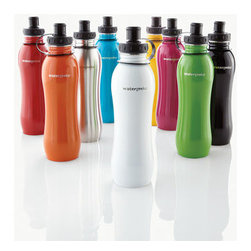 Horchow - Water Bottle with Filter - Never purchase bottled water again! Now you can filter water straight from your tap with this stainless steel bottle from Watergeeks™. The included Pure Blue™ filter is the first and only water bottle filter effective against chromium 6. It al...