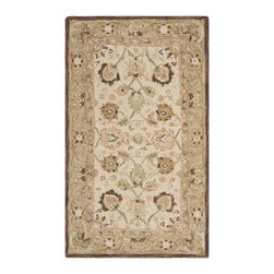 Safavieh - Safavieh Anatolia AN512D, Ivory, Brown, 5'x8' Rug - Anatolia Collection brings old world sophistication and quality in new tufted rugs. This collection captures the authentic look and feel of the decorative rugs made in the late 19th century in this region. Hand spun wool and an ancient pot dying technique together with a densely woven thick pile, gives Anatolia rugs their authentic finish.