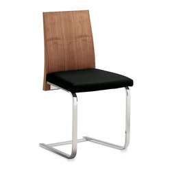 Domitalia - Jeff-SL Dining Chair, Walnut/Black - Steel Frame