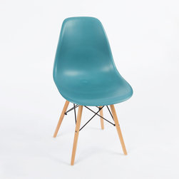 Mid-Century Slope Chair in Teal - Our Mid-Century Slope Chair is an ingenious design inspired by an iconic manufacturing process of the 1950s and 1960s. The original was born out of technological advancements that allowed a chair to be constructed out of a single mold of fiberglass. With the original mold no longer in production, today's designers have improved this process even further, resulting in a comfortable, stylish, lightweight chair. Replacing fiberglass with more eco-friendly polypropylene, the current iteration takes this incredible design and makes it accessible and modern, featuring a smooth polypropylene seat that contours to your body. This chair is also one of our most versatile pieces, fitting in at the dinner table, conference table, or anywhere else you're looking to add some seating.