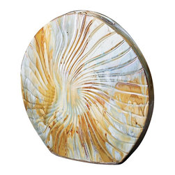 Howard Elliott - Shell Ceramic Vase - This small ceramic vase is designed to look just like a shell from the ocean. Its tabular shape features an alluring multi-colored drizzled glaze of cream, blues and browns.