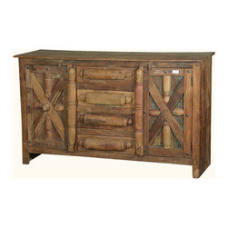 Primitive Reclaimed Wood Buffet Sideboard Cabinet Credenza Furniture -