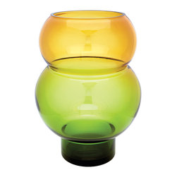 "Lazy Susan - Field Bubble Vase - This Field Bubble Vase Is Mouth Blown By A Skilled Craftsman Using Traditional Tecniques. Years Of Training Is Required Before A Craftsman Can Blow Larger Pieces Such As This Which Is 16"" Tall And A Curvaceous 12"" Wide. The Distinctive Green And Yellow Finish Is Hand Applied After The Glass Has Cooled."