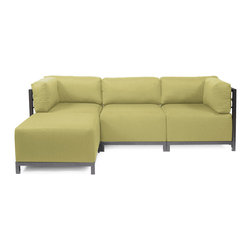 Howard Elliott - Sterling Willow Axis 4-piece Sectional - Titanium Frame - A Fashionable Trio! Lounge in style on a Sterling Axis 4pc Sectional will intoxicate your room with its uplifting style. Float the Sterling Axis 4pc Sectional in your room for an intimate seating arrangement. Expand your sectional with additional Chair, Corner or Ottoman Pieces. This piece features boxed cushions with Velcro attachments to keep the cushions from slipping and looking their best all of the time. Your Sterling Axis 4pc Sectional will definitely turn heads with its sophisticated linen-like texture and vibrant color selection. This Sterling Willow piece is 100% Polyester finished in a soft burlap texture in a willow green color. 95.5 in. W x 63 in. D x 30 in. H