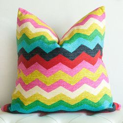 Annabelle Chevron Pillow Cover - How fun is this multicolored chevron pillow? Complete with a few pink stripes, this fun pattern would bring a touch spring to any room.