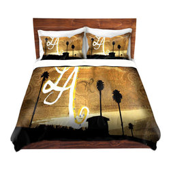DiaNoche Designs - Duvet Cover Twill - LA Beach - Lightweight and soft brushed twill Duvet Cover sizes Twin, Queen, King.  SHAMS NOT INCLUDED.  This duvet is designed to wash upon arrival for maximum softness.   Each duvet starts by looming the fabric and cutting to the size ordered.  The Image is printed and your Duvet Cover is meticulously sewn together with ties in each corner and a concealed zip closure.  All in the USA!!  Poly top with a Cotton Poly underside.  Dye Sublimation printing permanently adheres the ink to the material for long life and durability. Printed top, cream colored bottom, Machine Washable, Product may vary slightly from image.
