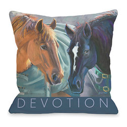 """Graviss Studios - Throw Pillow- Devotion - This beautiful equine image on 18"""" square pillow is printed from an original pastel painting by artist Debbie Graviss. Includes a hidden zipper."""