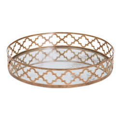 iMax - Chelsey Geometric Mirror Tray - No need to fret, we have got the perfect mirrored metal tray, encircled by an airy geometric design in a matte gold finish.