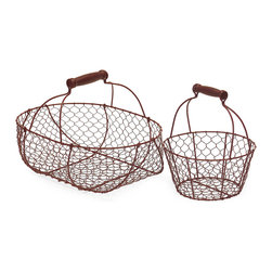 iMax - wire Baskets, Set of 2 - Red wire country baskets, set of two.