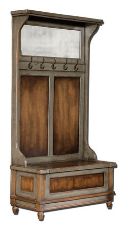 Uttermost - Riyo Distressed Hall Tree - Honey Stained, Solid Mango Wood With Hand Painted, Distressed Charcoal Gray Accents, Aged Brass Coat Hooks And Antiqued Mirror. Seat Lifts With Safety Hinge For Storage.