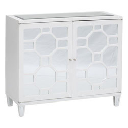 Asher 2-Door Mirrored Cabinet - This mirrored cabinet could be used as a chic nightstand. Or if you have the space, it could be an accent in a little sitting area. This is where I'd stash chick lit, or even out-of-season accessories.