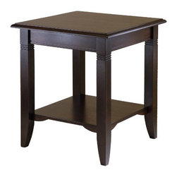 Winsome Wood - Nolan End Table - Clean, traditional lines make our Nolan End Table a great fit for any decor and home. The lower shelf gives more room to display and storage. It is made of solid and composite wood.