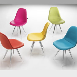 Angel Pop Chair - Angel Pop Chair is the result of a collaboration between designer Ruud Bos and Kubikoff lab. It features ABS shell upholstered in several colors leather with chromium-plated base, transparent acrylic legs.