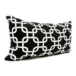 Majestic Home - Outdoor Black Links Small Pillow - Whether you need an extra head or back cushion while you're kicking back on the deck or in the den, or you'd just like to add a little color to your chair or settee, this little pillow has you covered. Stylish yet durable, it's designed to fit into your everyday life, with a comfy and casual recycled fiber fill and a cute printed cover that's safe for outdoor use and easy to remove for cleaning.