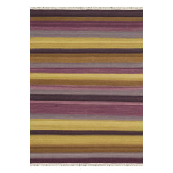 "Loloi Rugs - Loloi Rugs Santana Collection - Violet, 3'-6"" x 5'-6"" - The new Santana Collection takes a modern look at traditional kilims, employing the ancient flat weave construction, but with edgy new patterns for today. Choose from eight all-wool designs that have transitional and modern appeal. Made in India andfinished with fringed ends, Santana's color application recalls today's popular Ikat designs"