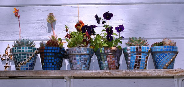 Eclectic Outdoor Pots And Planters by Mid Century Mosaics