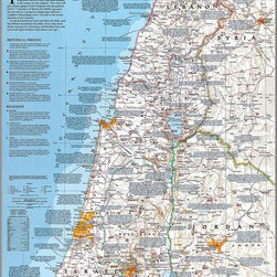 Magic Murals - Holy Land Map Wall Mural  -- Self-Adhesive Wallpaper in Various Sizes by MagicMu - A map of the Holy Lands. Artwork. National Geographic Collection / NG Maps 2003.