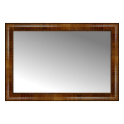 """Posters 2 Prints, LLC - 29"""" x 20"""" Belmont Light Brown Custom Framed Mirror - 29"""" x 20"""" Custom Framed Mirror made by Posters 2 Prints. Standard glass with unrivaled selection of crafted mirror frames.  Protected with category II safety backing to keep glass fragments together should the mirror be accidentally broken.  Safe arrival guaranteed.  Made in the United States of America"""