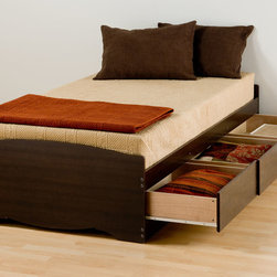 Prepac - Espresso Twin Xl Platform Storage Bed With 3 Drawers - Espresso Twin Xl Platform Storage Bed With 3 Drawers