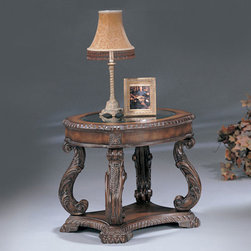 Coaster - Brown Traditional End Table - Hard carved, glass inlay tables in an antiqued finish.