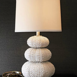 Stacked Sea Urchin Lamp - This lamp, made to look of stacked sea urchins, is the perfect shade of washed white for a lighter feel while still providing plenty of texture.