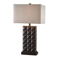 Kenroy Home - Kenroy 32211BZC Cross Hatch Table Lamp - With a handsome, repetitive geometric pattern, and a classic stepped base, Cross Hatch adds texture and a visual weight to a design scheme.