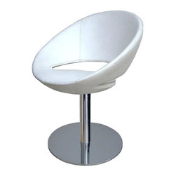 """sohoConcept - Crescent Round Chair w Upholstered Seat (Sky - Fabric: Sky Blue LeatheretteA unique dining chair with a comfortable upholstered seat. Backrest on a chromed steel tube column. Solid chromed steel round base. The seat has a steel structure with """"S"""" shape springs for extra flexibility and strength. Steel frame molded by injecting polyurethane foam. Seat is upholstered with a removable zipper enclosed leather, PPM or wool fabric slip cover. Suitable for both residential and commercial use. Pictured in White Leatherette. 22.5 in. W x 24 in. D x 29 in. H, Seat Height: 17 in."""