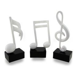 Zeckos - Set of 3 White and Black Musical Symbol Figures 7 in. - This set of three musical symbol figurines is a fun addition to the homes of musicians or music lovers Each piece is hand painted in white on a classic black base with a smooth, satin finish They're crafted from wood, and look amazing displayed on bookcases, shelves, and tables at home, or in the office. Each measuring 2 inches wide, this set of statues includes a 7.75 inch tall, 3 inch long treble clef symbol, a 6.25 inch tall, 3.5 inch long double 16th note, and a 7 inch tall, 3 inch long single 16th note symbol. This set would make a wonderful gift for a chorus or band teacher sure to be admired