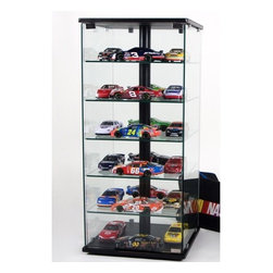 """Tier One Designs - Glass and Aluminum Display Case with Swivel - This contemporary glass and aluminum display case is a great addition to any home or office. The thick 6mm tempered clear glass shelves allow for ample display room for your collectibles. Unlike most cases that hide items with backing or solid wood construction, this case lets you swivel it to see each side and the see through design allows you to easily look from the front to back. Features: -Thick 6mm tempered clear glass -5 shelves for display -Swivels to see different angles -Carries a 1 year warranty against defects -Overall dimensions: 34"""" H x 18"""" W x 18"""" D"""