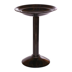 PineBush - Birdbath Anodized Black - Graduated basin to accommodate many varieties of garden birds. Finished in anodized black. Made of cold rolled steel.