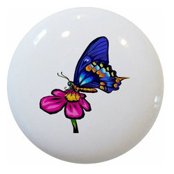 Carolina Hardware and Decor, LLC - Butterfly Pink Flower Ceramic Knob - New 1 1/2 inch ceramic cabinet, drawer, or furniture knob with mounting hardware included. Also works great in a bathroom or on bi-fold closet doors (may require longer screws). Item can be wiped clean with a soft damp cloth. Great addition and nice finishing touch to any room!