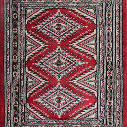 """ALRUG - Handmade Red/Burgundy Oriental Jaldar Rug 2' 1"""" x 3' 3"""" (ft) - This Pakistani Jaldar design rug is hand-knotted with Wool on Cotton."""