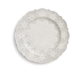 Arte Italica - Merletto Antique Dinner Plate - This dinner plate has the white idea. It's handmade in Italy of ceramic and adorned with a vintage lace pattern. Place it atop colored linens for bold contrast, or set an all-white table for a look that's at once modern and classic.