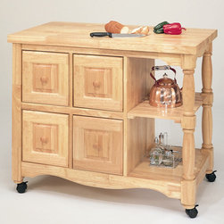 Sunset Trading - Sunset Selections Kitchen Cart - Add a touch of country comfort to your kitchen with this versatile and generously appointed kitchen cart from the Sunset Trading Sunset Selections Collection. Perfect for preparing family meals or serving drinks and appetizers when entertaining guests. Family and friends will be sure to gather around this cozy and inviting kitchen centerpiece. Features include four deep pass-through drawers that open from either side allowing for convenient and easy access, identical finish on either side of the cart for optimum placement in your home, antique black finish with cherry finished top and drawer knobs, two large open shelves for prominent display of decorative mixing bowls, baskets or gourmet cookware. Big on style, workspace and storage this versatile design is certain to be a welcome focal point in the hearth of your home for years to come! Features: -Sunset Selections collection. -Asian ramon hardwood construction. -Butcher block style. -Four deep drawers that can be opened from either side. -Old style pull through drawers. -Identical finishing on either side of the cart for optimum placement in your home. -Manufacturer provides one year warranty against defects.