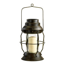 """Kathy Kuo Home - Willow Antique Rustic Cottage Style """"Oil Lamp"""" Candle Lantern - This small candleholder lantern has a slightly military line to it, typical of vintage and rustic lighting pieces.  Also evoking the utilitarian sensibility of farmhouse hardware, this piece would also work wonderfully in rustic lodges or industrial lofts."""