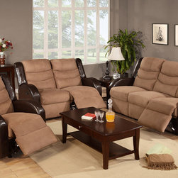 Modern Saddle Microfiber Leather Reclining Sofa Loveseat Motion Couch - Sit back and relax in this gorgeous reclining sofa set! This luxurious reclining sofa set is upholstered in beautiful ultra-soft microfiber with faux leather trim, this up to date won't go out style! The seats and the backs are cushioned with high-density foam to ensure your utmost comfort. Constructed with webbing, springs, and a strong wood frame,this sofa set is extremely durable and resilient.