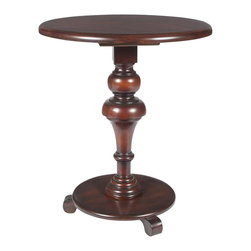 Butler - Pedestal Table in Light Cherry Finish - Made from rubber wood solids, wood products and choice cherry veneers. 22 in. W x 22 in. D x 25.25 in. H (21 lbs.)The mesmerizing turns of this accent tables pedestal provide the perfect counterpoint to the simplicity of the table top and base, creating a design sure to complement virtually any decor.