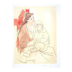 Pablo Picasso Estate Collection Maternite au Rideau Rouge Hand Signed with COA - PABLO PICASSO ESTATE COLLECTION