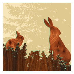 jefdesigns - Forest Critters Print - Bunny 2 - If you loved Peter Rabbit, you'll adore this whimsical print featuring two quizzical bunnies. A true work of art, created by Joe Futschik, these rabbits are outlined in brilliant green and filled in with digitally enhanced wood grain. This six-by six-print is already mounted and coated with a UV gloss for sun protection and depth of color.